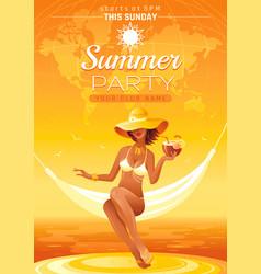 summer party invitation flyer design sea beach vector image