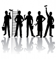workers silhouettes vector image vector image