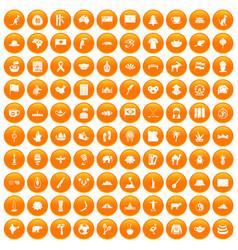 100 landmarks icons set orange vector image