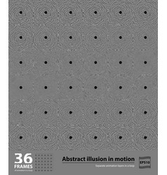 Abstract illusion in motion 36 frames hypnotic vector