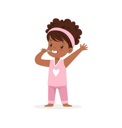 Adorable black cartoon girl in a pink pajamas vector