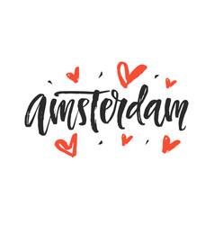 amsterdam modern city hand written lettering vector image