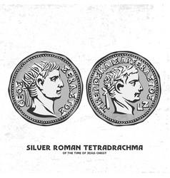 Ancient coin silver roman tetradrachma vector