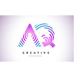 Aq lines warp logo design letter icon made vector