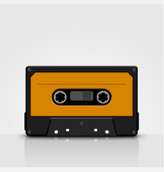 Audio tape yellow front view vector