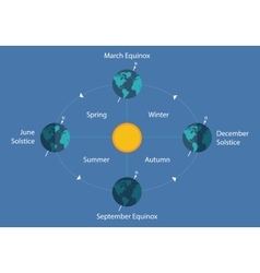 Autumnal equinox solstice diagram eart sun day vector