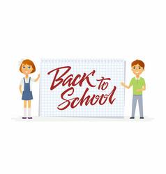 Back to school - characters of happy students with vector