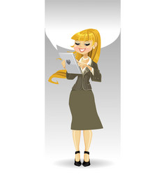 Blond girl with tablet computer and speech bubble vector