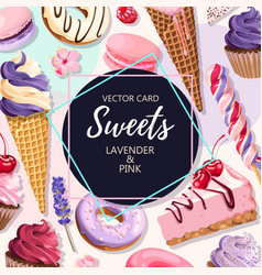 Card with pink and lilac sweets vector