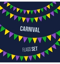 Carnival flags set isolated on dark background vector image