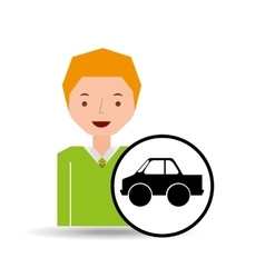 cartoon boy icon pickup truck icon design vector image