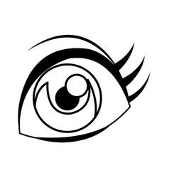 Cartoon eye comic look watch icon linear vector
