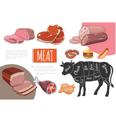 cartoon meat food concept vector image