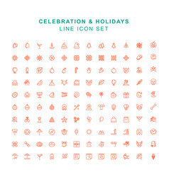 celebration and holidays line icon set vector image