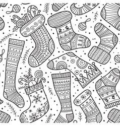 Christmas socks seamless pattern vector