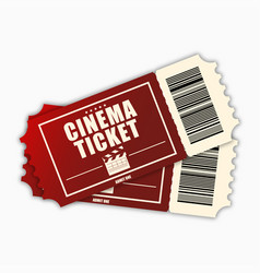 cinema ticket template red realistic movie vector image