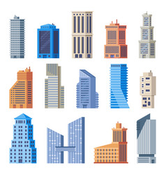 City office buildings glass building modern vector