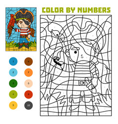 Color by number education game pirate and parrot vector