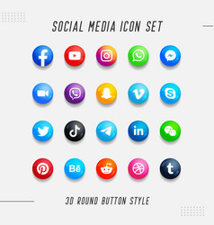 Colorful 3d round social media button icon set vector