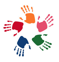colorful human palms childrens handprint logo vector image
