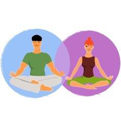 Couple doing yoga vector