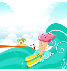 cute ice cream character waterskiing with joy vector image