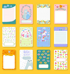 Cute planner children notebooks print design funny vector