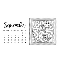 Desk calendar template for month September vector