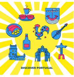 Discover portugal concept banner with icons in vector