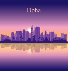 doha city silhouette on sunset background vector image