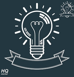 Electricity light bulb symbol insight emblem brain vector