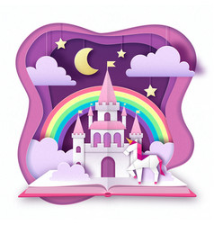 Fantasy animal horse unicorn with rainbow vector