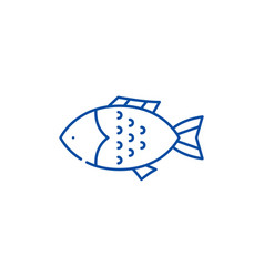 fish line icon concept fish flat symbol vector image