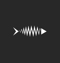 fish skeleton logo minimal style t-shirt print vector image