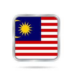 flag of malaysia metallic gray square button vector image