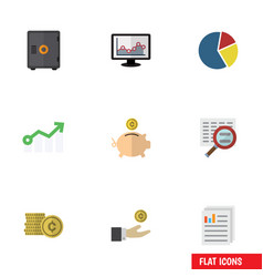 flat icon gain set of cash chart money box and vector image vector image