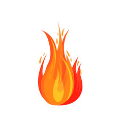 flat icon of red-orange fire bright fiery vector image