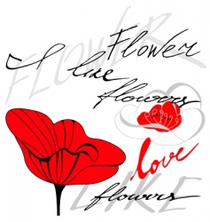 flower with inscription vector image