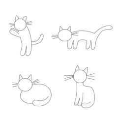 four funny cats - vector image