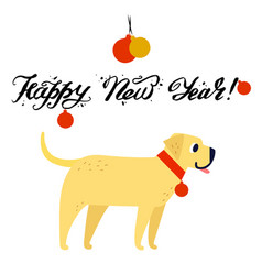 funny yellow dog symbol of year 2018 flat style vector image vector image