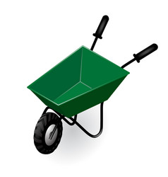 green garden isometric wheelbarrow isolated on vector image