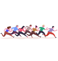 group running people colorful runners man vector image