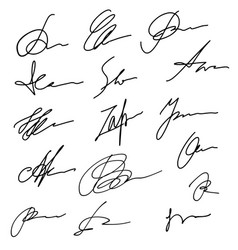 Hand drawn abstract signature set business sign vector