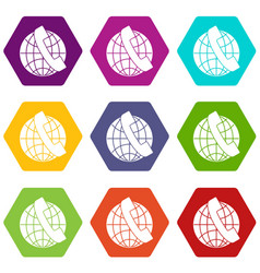 handset and globe icon set color hexahedron vector image