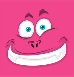 Happy pink monster face vector