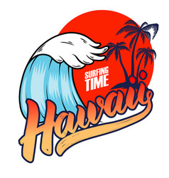 hawaii emblem template with sea waves and palms vector image