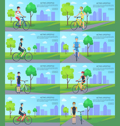 Healthy active lifestyle banners with man on bike vector
