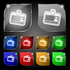 Id card icon sign Set of ten colorful buttons with vector image