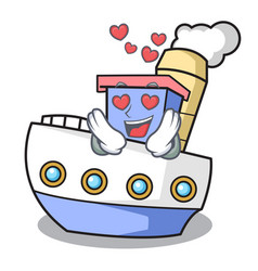 in love ship mascot cartoon style vector image