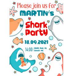 invitation childrens holiday cute shark sea fish vector image